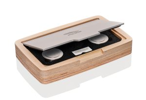 Photo of a Hot Disk Wooden Box with Stainless Steel Verification Sample Pair