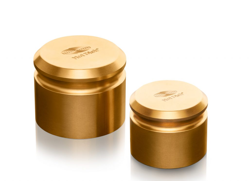 Photo of a pair of Hot Disk Brass Weights (80mm and 65mm)