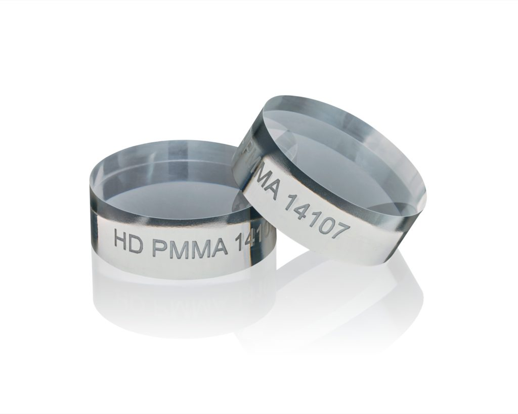 Photo of a Hot Disk PMMA Sample Pair